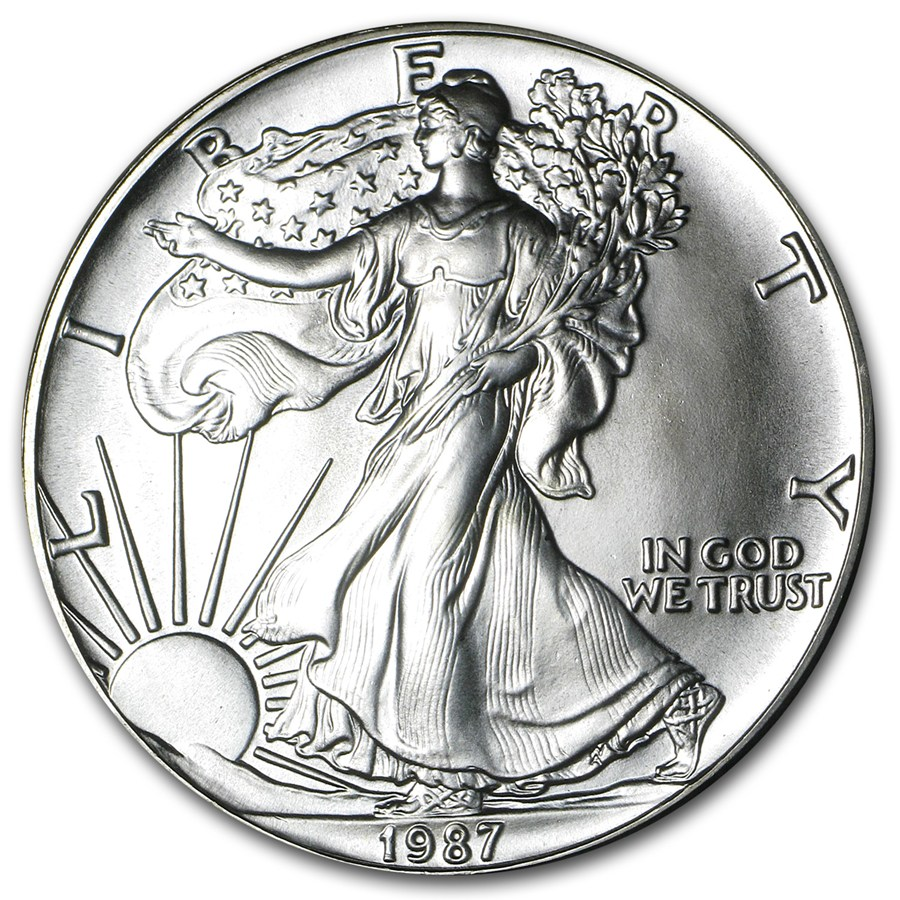 1987 American Silver Eagle Coin 1oz front