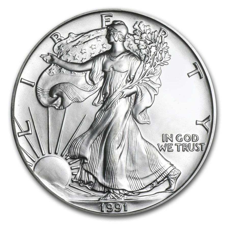 1991 American Silver Eagle 1oz Coin front