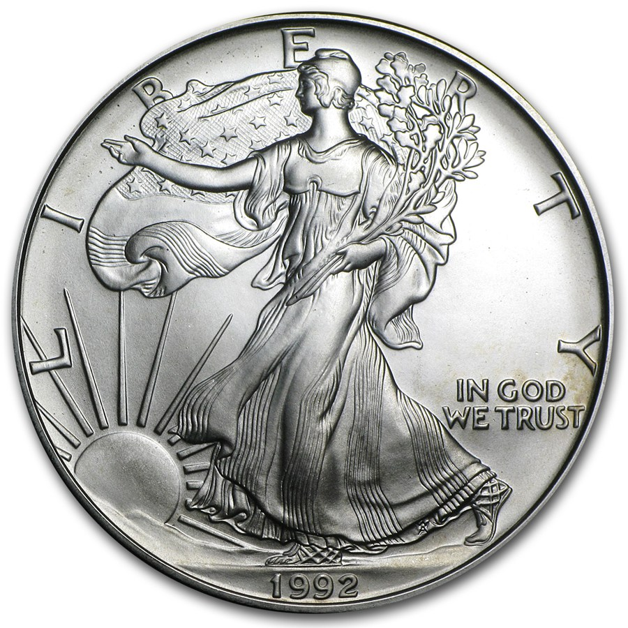 1992 American Silver Eagle 1 oz coin front